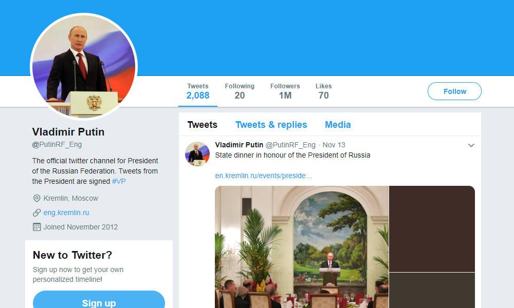 Twitter Suspends Fake Account Attributed To Putin Bno News