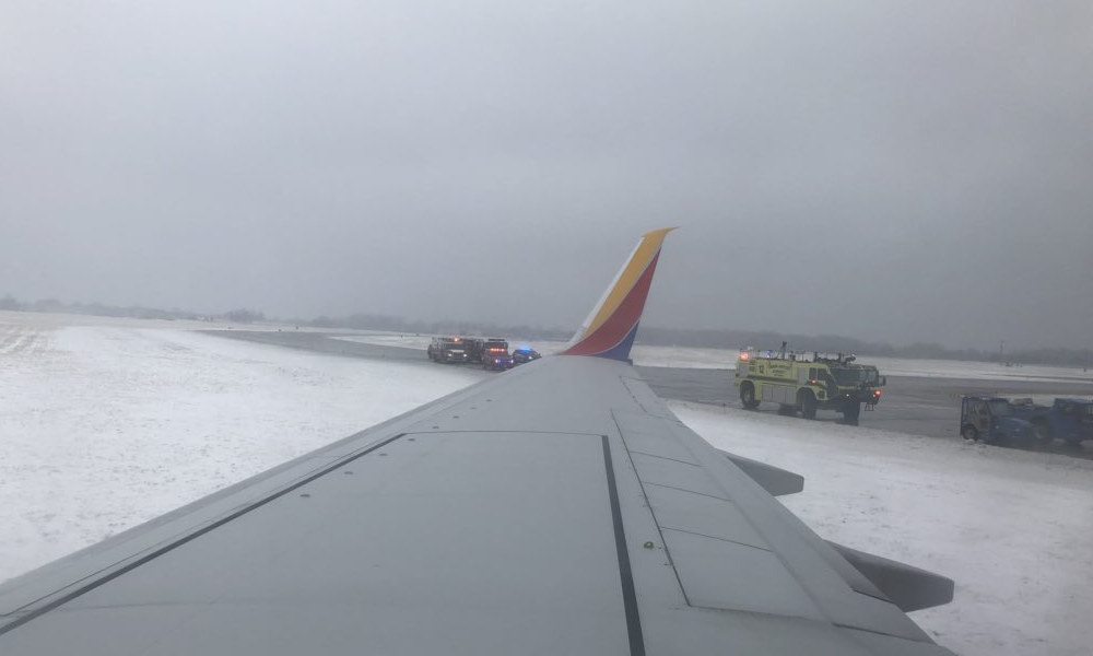 Southwest Airlines Plane Slides Off Icy Eppley Runway