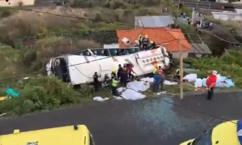 At least 28 dead as tourist bus overturns in Portugal