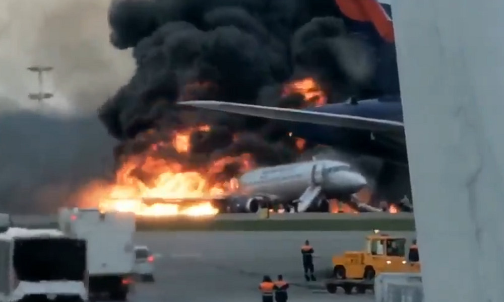 Burning Aeroflot plane lands in Moscow, at least five people injured